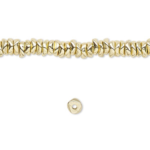 bead, brass-finished pewter (zinc-based alloy), mini chip. sold per 16-inch strand.