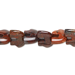 bead, brecciated jasper (natural), 13x10mm zuni-style bear, b grade, mohs hardness 6-1/2 to 7. sold per 16-inch strand.