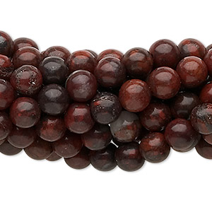 bead, brecciated jasper (natural), 6mm round, c grade, mohs hardness 6-1/2 to 7. sold per pkg of (10) 16-inch strands.