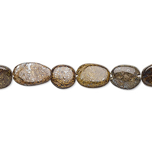 bead, bronzite (natural), 8x6mm-12x8mm hand-cut puffed oval, d+ grade, mohs hardness 5 to 6. sold per 13-inch strand.