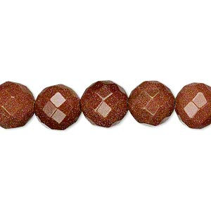 bead, brown goldstone (man-made), 10mm faceted round. sold per 16-inch strand.
