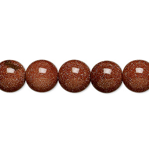bead, brown goldstone (man-made), 10mm round. sold per 16-inch strand.
