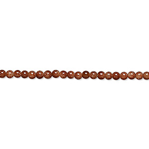 bead, brown goldstone (man-made), 2mm round. sold per 16-inch strand.