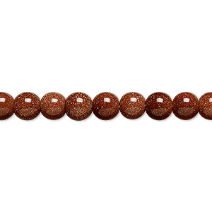 bead, brown goldstone (man-made), 6mm round. sold per 16-inch strand.