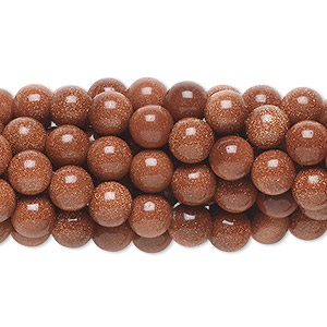 bead, brown goldstone (man-made), 6mm round. sold per pkg of (10) 16-inch strands.