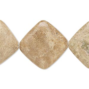 bead, brown marble (natural), 23x23mm-24x24mm rounded flat diamond, c+ grade, mohs hardness 3. sold per 15-inch strand.