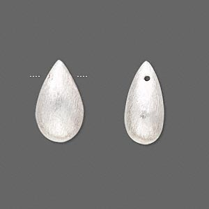 bead, brushed sterling silver, 17x10mm teardrop. sold individually.