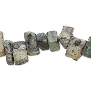 bead, camo stone™ (natural), matte, extra-large chip, mohs hardness 6-1/2 to 7. sold per 15-inch strand.