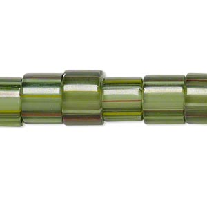 bead, cane glass, multicolored, 10x8mm-12x9mm round tube with stripes. sold per 15-inch strand.