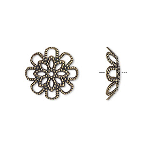 bead cap, antique brass-plated brass,17x4.5mm flower with cutout design, fits 20-24mm bead. sold per pkg of 20.