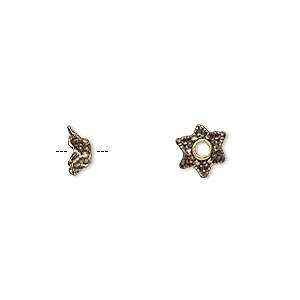 bead cap, antique brass-plated pewter (zinc-based alloy), 7x3mm star, fits 5-6mm bead. sold per pkg of 100.