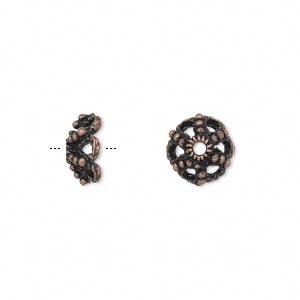 bead cap, antique copper-finished pewter (zinc-based alloy), 10x4mm filigree saucer, fits 8-10mm bead. sold per pkg of 24.