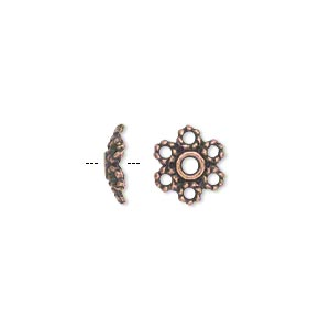 bead cap, antique copper-plated pewter (zinc-based alloy), 10x3mm flower, fits 10-14mm bead. sold per pkg of 50.