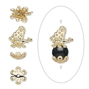 bead cap, antique gold-finished bronze, 18x11mm with 11x11mm butterfly and 9x9mm bottom cap, fits 8-10mm bead. sold per 2-piece set.
