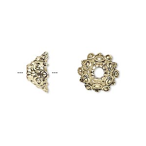 bead cap, antique gold-finished pewter (zinc-based alloy), 12x7mm round with dots and scalloped edges, 3mm hole, fits 10-14mm bead. sold per pkg of 20.