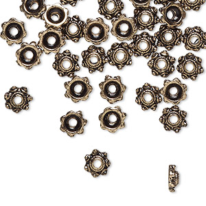 bead cap, antique gold-finished pewter (zinc-based alloy), 6x2mm beaded round, fits 4-6mm bead. sold per pkg of 24.