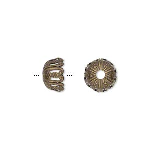 bead cap, antique gold-plated brass, 10x6mm fancy round, fits 10-12mm bead. sold per pkg of 50.