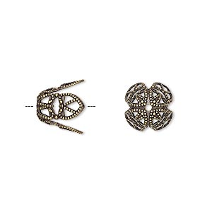 bead cap, antique gold-plated brass, 11x10mm long filigree, fits 12-14mm bead. sold per pkg of 10.