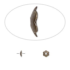 bead cap, antique gold-plated brass, 4x1mm scalloped round, fits 4-6mm bead. sold per pkg of 1,000.