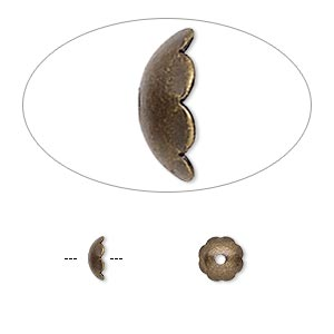 bead cap, antique gold-plated brass, 6x2mm scalloped round, fits 6-8mm bead. sold per pkg of 100.
