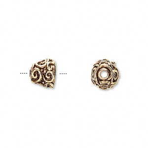 bead cap, antique gold-plated pewter (tin-based alloy), 9x8mm round with swirl design, fits 8-10mm bead. sold per pkg of 4.