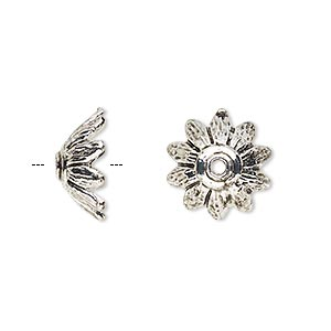 bead cap, antique silver-finished pewter (zinc-based alloy), 14x7mm flower petal, fits 12-16mm bead. sold per pkg of 20.