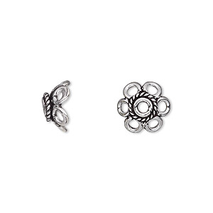 bead cap, antique silver-plated brass, 11x5mm flower, fits 10-12mm bead. sold per pkg of 12.
