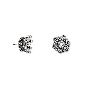 bead cap, antique silver-plated brass, 9x7mm beaded flower, fits 8-10mm bead. sold per pkg of 8.