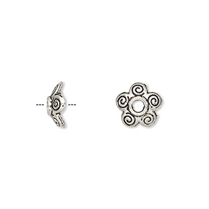 bead cap, antique silver-plated pewter (zinc-based alloy), 10x3mm flower, fits 10-14mm bead. sold per pkg of 100.