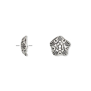 bead cap, antique silver-plated pewter (zinc-based alloy), 10x3mm star, fits 8-16mm bead. sold per pkg of 50.
