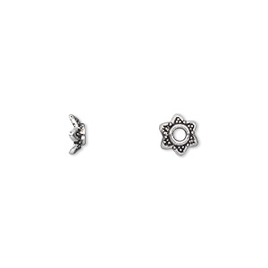 bead cap, antique silver-plated pewter (zinc-based alloy), 7x3mm star, fits 6-8mm bead. sold per pkg of 500.