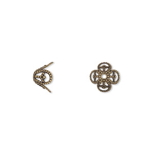 bead cap, antiqued brass, 8x5mm filigree basket, fits 8-10mm bead. sold per pkg of 50.