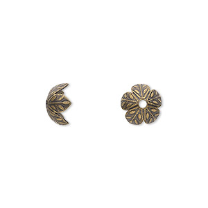 bead cap, antiqued brass, 9x4mm flower, fits 8-10mm bead. sold per pkg of 40.