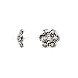 bead cap, antiqued pewter (tin-based alloy), 10.5x3.5mm flower, fits 10-14mm bead. sold per pkg of 6.