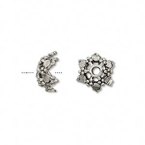 bead cap, antiqued pewter (tin-based alloy), 11.5x6mm star, fits 10-12mm bead. sold per pkg of 6.