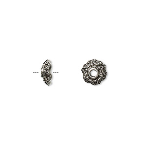 bead cap, antiqued pewter (tin-based alloy), 8x3mm round, fits 6-8mm bead. sold per pkg of 10.