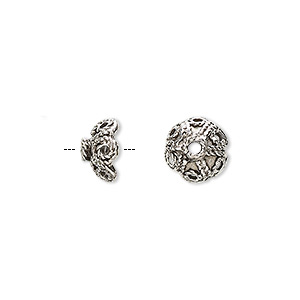 bead cap, antiqued pewter (tin-based alloy), 9.5x5mm fancy flower, fits 6-8mm bead. sold per pkg of 6.