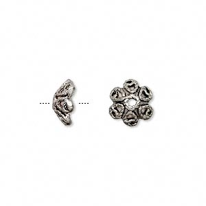 bead cap, antiqued pewter (zinc-based alloy), 9.5x4.5mm flower, fits 8-10mm bead. sold per pkg of 24.