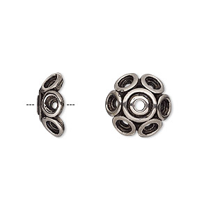 bead cap, antiqued silver-plated pewter (tin-based alloy), 13x5.5mm round with circle design, fits 12-14mm bead. sold per pkg of 2.