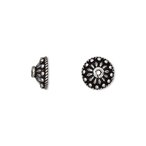 bead cap, antiqued sterling silver, 10x5mm beaded round, fits 8-12mm bead. sold per pkg of 6.