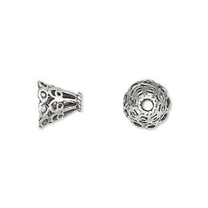bead cap, antiqued sterling silver, 10x9mm filigree cone, for 9mm bead. sold per pkg of 2.