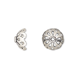 bead cap, antiqued sterling silver, 11x6mm round with cutout design, fits 10-12mm bead. sold per pkg of 2.