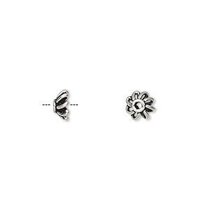bead cap, antiqued sterling silver, 5.5x2.5mm flower, fits 4-6mm bead. sold per pkg of 12.