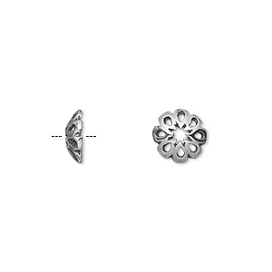 bead cap, antiqued sterling silver, 9x3mm pierced flower, fits 10-12mm bead. sold per pkg of 2.