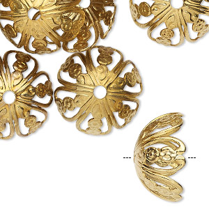 bead cap, brass-finished steel, 19x10mm round with flower design and cutouts, fits 17-18mm bead. sold per pkg of 24.