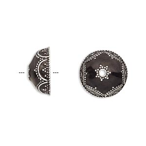 bead cap, enamel and antique silver-plated brass, opaque black, 14.5x6.5mm beaded round, fits 12-14mm bead. sold per pkg of 2.