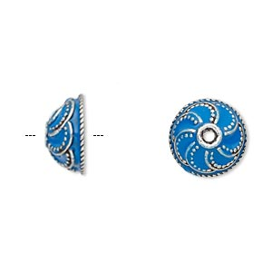 bead cap, enamel and antique silver-plated brass, opaque turquoise blue, 13x6mm beaded round, fits 10-12mm bead. sold per pkg of 2.