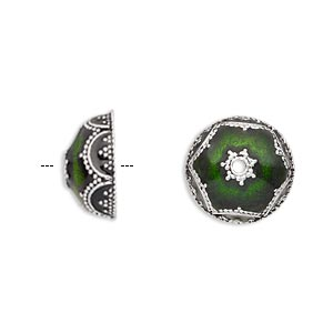 bead cap, enamel and antique silver-plated brass, transparent green, 14.5x6.5mm beaded round, fits 12-14mm bead. sold per pkg of 2.