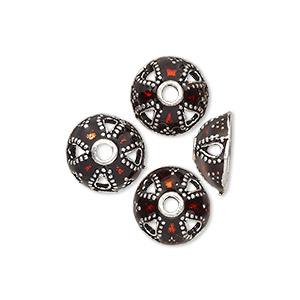 bead cap, enamel and antique silver-plated brass, transparent red, 11.5x5.5mm beaded round, fits 10-12mm bead. sold per pkg of 4.