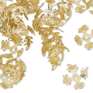 bead cap, gold-finished aluminum, 13mm snowflake, fits 11mm bead. sold per pkg of 100.